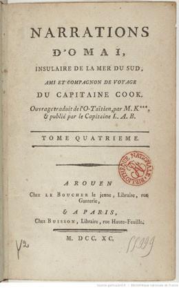 Narrations d'Omaï, insulaire de la mer du Sud, ami et compagnon de voyage du capitaine Cook. Tome 4 (1790)