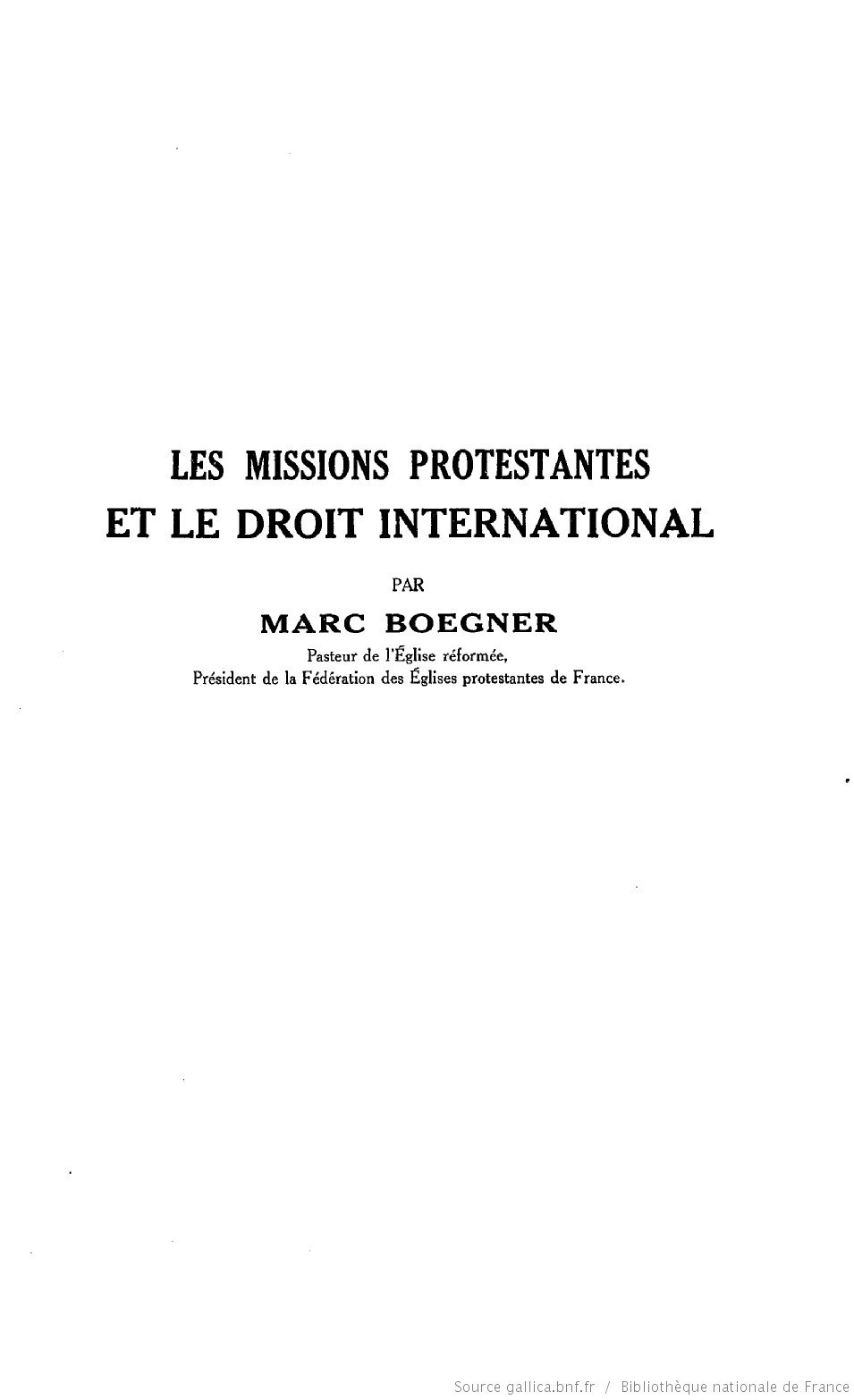 Les missions protestantes et le droit international (1930)