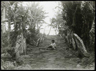 Pavage en pierres bordé de pierres dressées à Raivavae (1921-1923)