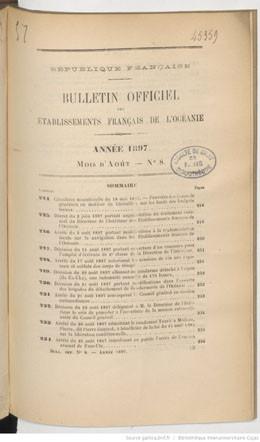 Bulletin officiel des Etablissements français de l'Océanie – Août 1897