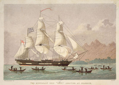 "The missionary ship ""Duff"" arriving at Otaheite, lithograph by Kronheim & Co (1820)"