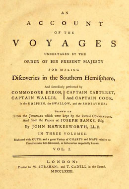An account of the voyages undertaken by the order of His present Majesty for making discoveries in the Southern Hemisphere – Tome I (1773)
