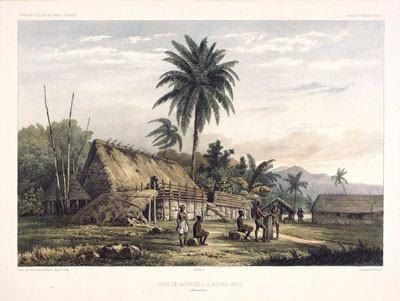 Case de naturels à Nouka-Hiva – Baie Anna Maria (1846)