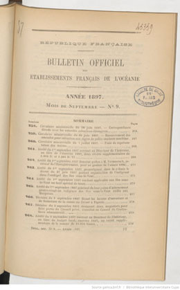 Bulletin officiel des Etablissements français de l'Océanie – Septembre 1897
