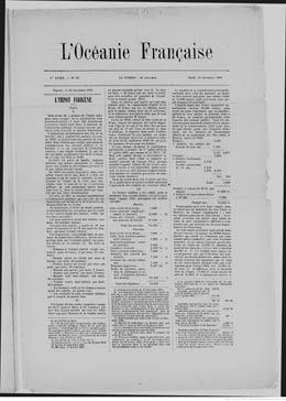 L'Océanie française N°52 – 1ère année – 25 décembre 1883