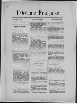 L'Océanie française – N°105 – 30 décembre 1884