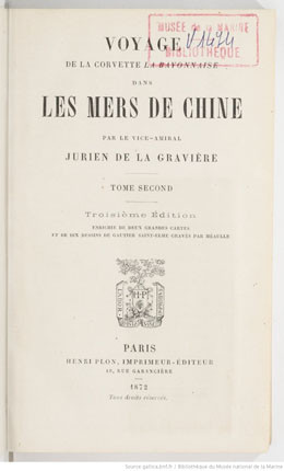 """Voyage de la corvette """"La Bayonnaise"""" dans les mers de Chine – Tome 2 (1872)"""