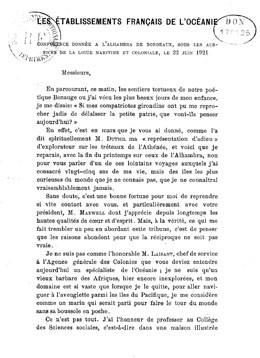 Etablissements français de l'Océanie, conférence donnée sous les auspices de la Ligue maritime et coloniale, le 23 juin 1921