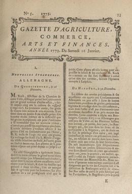 Gazette d'agriculture, commerce, arts et finances – M de La Maltière montre un morceau de toile de Taïty (1773)