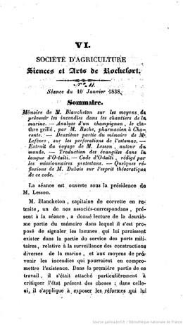 Société d'agriculture, sciences et arts de Rochefort – Extrait du voyage de M. Lesson (1838)