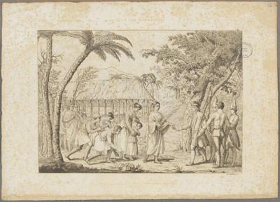 Oberea, reine des îles de la Société reçoit le capitaine Wallis