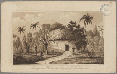 Hutte marquisienne sur l'île de Nuku Hiva (1835)