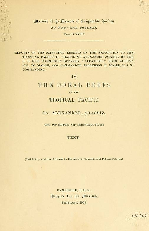 The coral reefs of the tropical Pacific (1903)