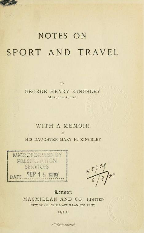 Notes on sport and travel (1900)