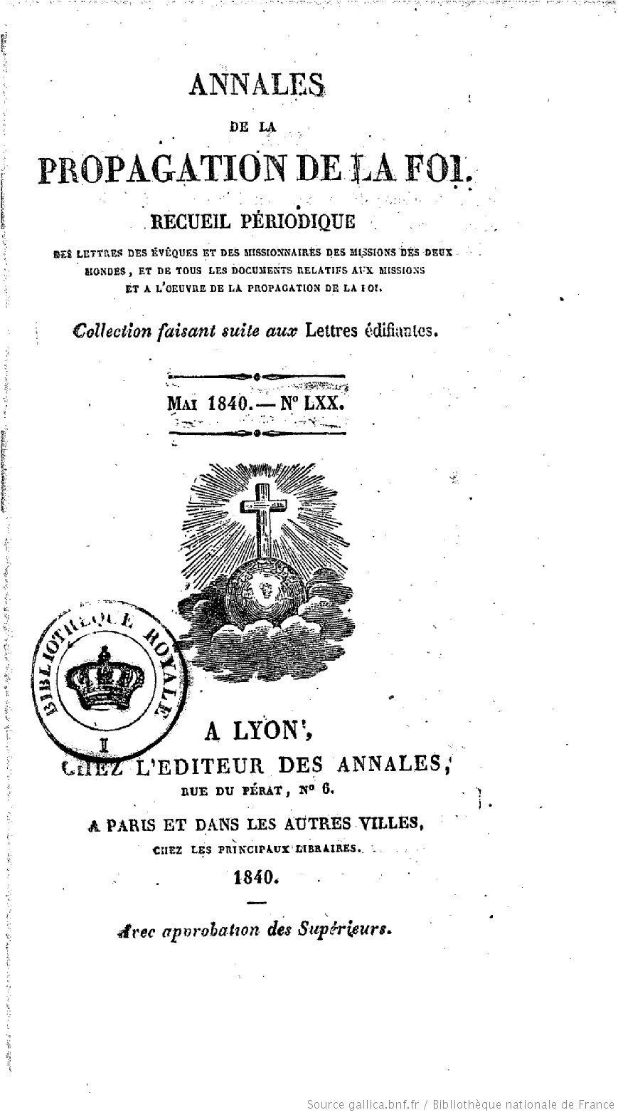 Annales de la propagation de la foi – Missions de l'Océanie orientale – N° LXX (Mai 1840)