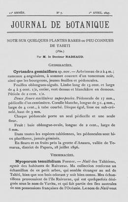 Note sur quelques plantes rares ou peu connues de Tahiti – Fin (1897)
