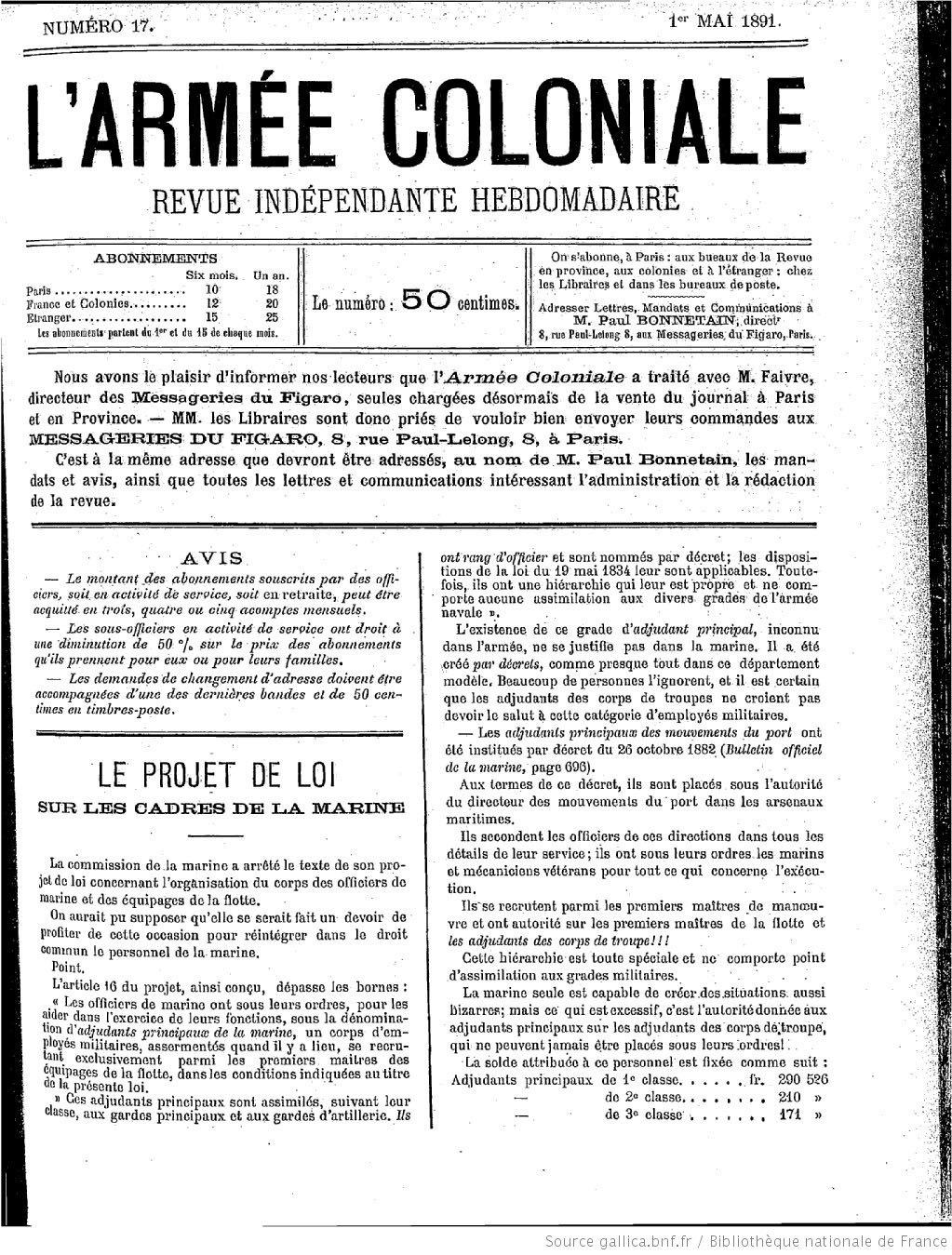 L'armée coloniale – Aux îles Sous-le-Vent révélations – La situation à Raiatea (1891)