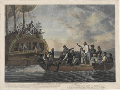 Bligh et une partie de ses officiers abandonnés dans une chaloupe en pleine mer (1790)