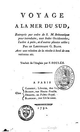 Voyage à la mer du sud par le lieutenant G. Bligh (1792)