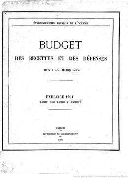 Budget des recettes et des dépenses des Etablissements français de l'Océanie 1901 (1900)