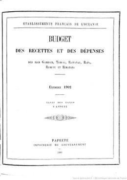 Budget des recettes et des dépenses des Etablissements français de l'Océanie 1902 (1901)