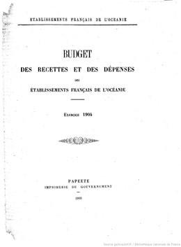 Budget des recettes et des dépenses des Etablissements français de l'Océanie 1904 (1903)