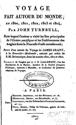 Voyage fait autour du monde en 1800, 1801, 1802, 1803 et 1804 par John Turnbull (1807)