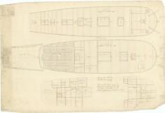 Plans du HMS Bounty – Pont supérieur & pont inférieur (1787)
