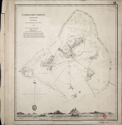 Carte des îles Gambier par le capitaine F.W. Beechey (1831)