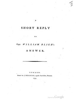 A short reply to Captain William Bligh's answer (1795)