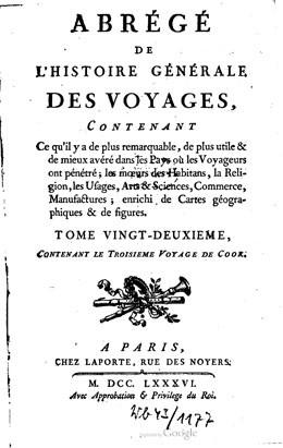 Abrégé du troisième voyage de Cook – Tome vingt-deuxième (1786)