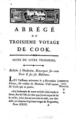 Abrégé du troisième voyage de Cook – Tome vingt-troisième (1786)