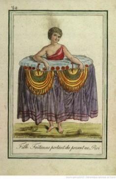 Fille taïtienne portant des présents au roi (1796)