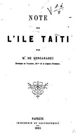 Note sur l'île de Taïti (1865)