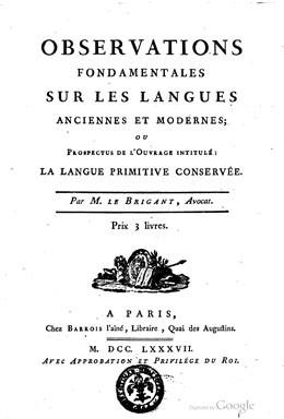 Observations fondamentales sur les langues anciennes et modernes – Langue de l'île de Taïti (1787)