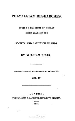 Polynesian researches, during a residence of nearly eight years in the Society and Sandwich islands – Tome 4 (1834)