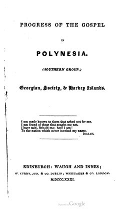 Progress of the gospel in Polynesia (1831)