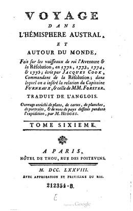 Voyage dans l'hémisphère austral, et autour du monde – Tome Sixième (1778)