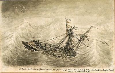 HMS Dido dans un cyclone au large de Raiatea (1856)