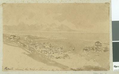 Papeete depuis les hauteurs avec vue sur Moorea (1854)