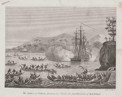 Natifs de Otaheite attaquant le capitaine Wallis