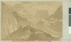 Le Diadème depuis le plateau au-dessus de la vallée de la Fautaua (1854)