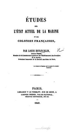 Études sur l'état actuel de la Marine et des colonies françaises (1849)