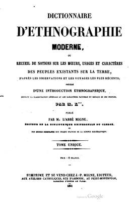 Dictionnaire d'ethnographie moderne