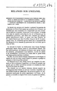 Mélanges sur l'Océanie – Nécessite d'un établissement français dans l'Océanie pour protéger la pêche baleinière et le commerce national (1843)
