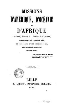 Missions d'Amérique, d'Océanie et d'Afrique (1853)