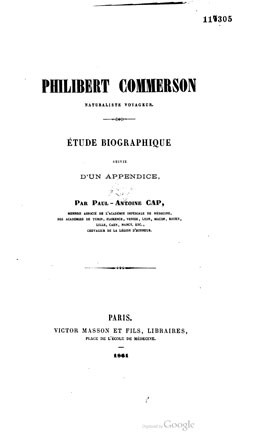 Philibert Commerson, naturaliste voyageur (1861)