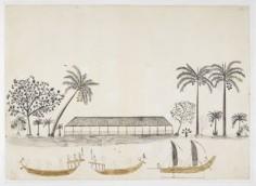 Habitation de Tupai'a et pirogues à Tahiti (1769)
