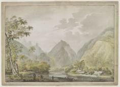 Baie de Vaitepiha & le Resolution dans Resolution cove (1777-1778)