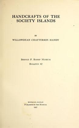 Artisanat des îles de la Société (1927)